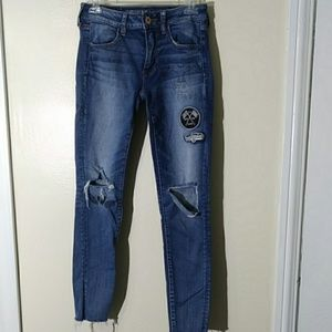 American Eagle distressed patch jeggings size 6